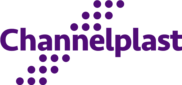Channelplast. Brand center. Logo. One ink. Transparent PNG