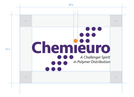 Chemieuro. Brand Centre. Logo Brand. Clear space