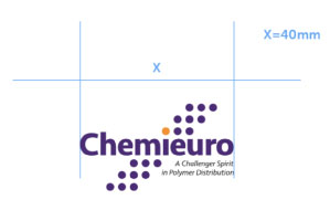 Chemieuro. Brand Centre. Logo Brand. Minimum Size with slogan